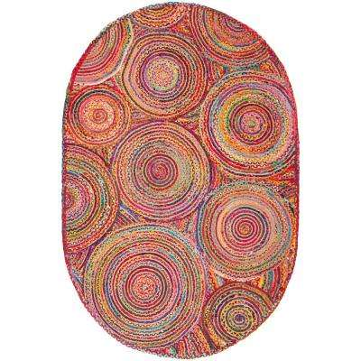 Cape Cod Red/Multi 3 ft. x 5 ft. Oval Area Rug