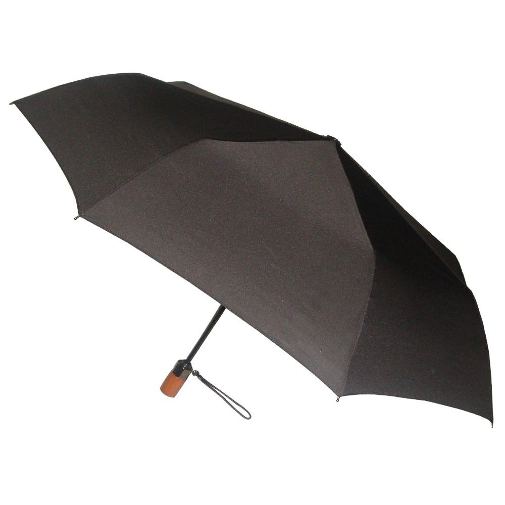 London Fog 44 in. Arc Canopy 3 Sectional Telescopic Mini Auto Open Auto Close Umbrella in Black