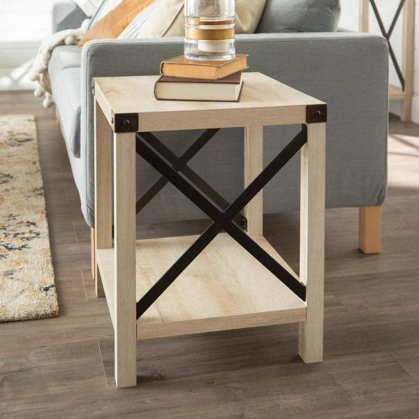 White Oak Rustic Urban Industrial Metal X Accent Side Table