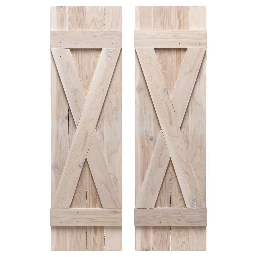 14 in. x 48 in. Cedar Board and Batten Shutters Pair Whitewash