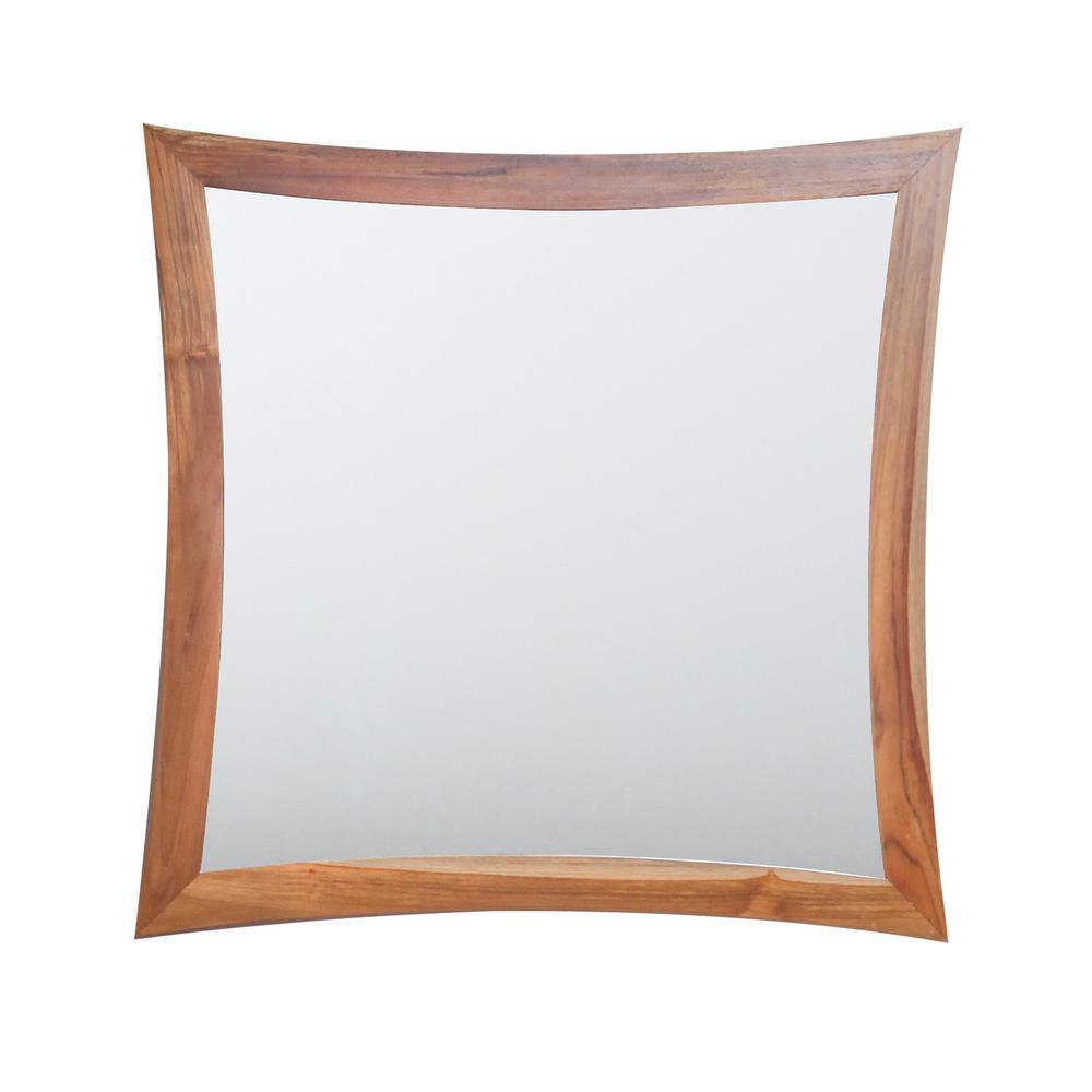 Curvature 36 in. L x 35 in. H Single Solid Teak Framed Mirror in Natural Teak