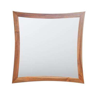 Curvature 36 in. L x 35 in. H Single Solid Teak Framed Mirror in Natural Teak