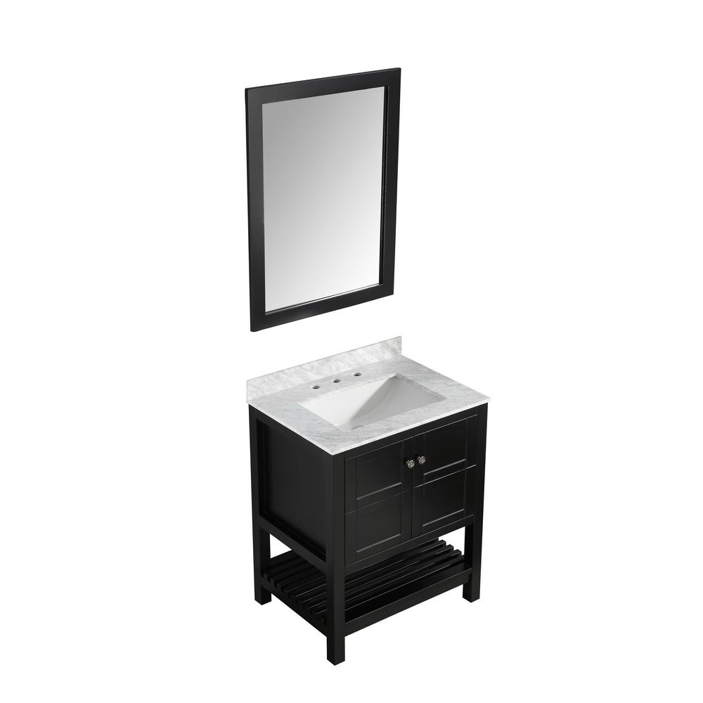 ANZZI Montaigne 30 in. W x 22 in. D Bath Vanity in Black with Marble Vanity Top in Carrara White with White Basin and Mirror