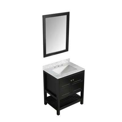 Montaigne 30 in. W x 22 in. D Bath Vanity in Black with Marble Vanity Top in Carrara White with White Basin and Mirror