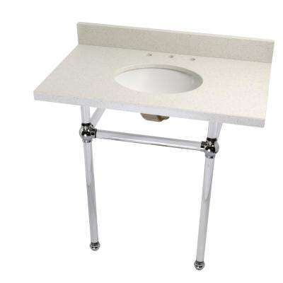 Washstand 36 in. Console Table in White Quartz with Acrylic Legs and Connectors in Polished Chrome