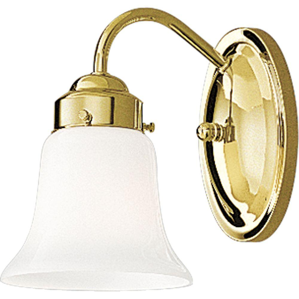 Progress Lighting Opal Glass Collection 1 Light Polished Brass Bath Sconce  With White Opal Glass