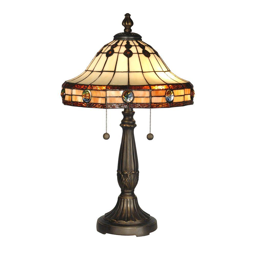 Dale Tiffany 23 in. Jeweled Mission Antique Golden Sand Table Lamp