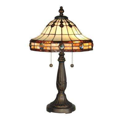 23 in. Jeweled Mission Antique Golden Sand Table Lamp