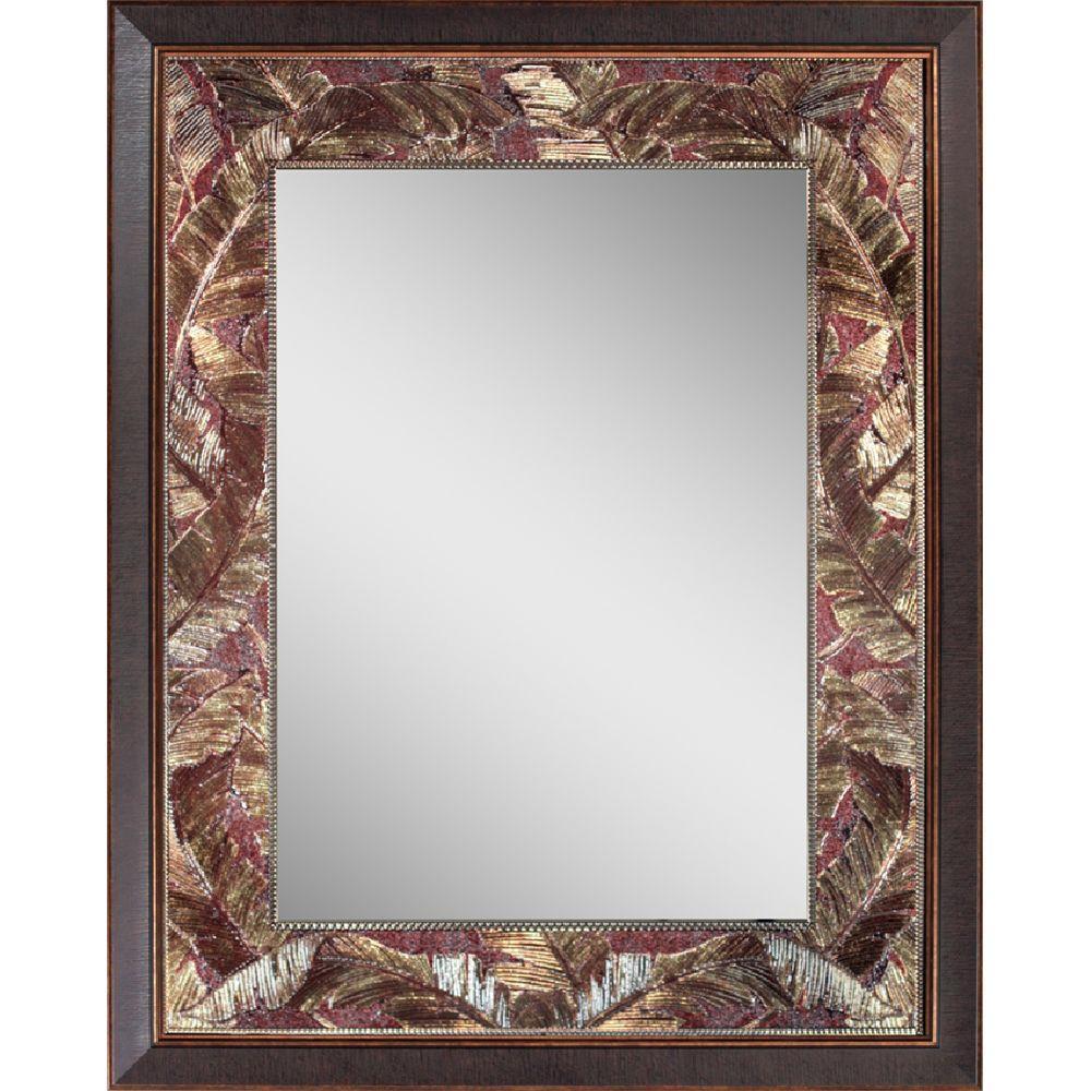 Deco Mirror Tropical 27 inch x 35 inch Leaf Mirror in Bronze Copper by Deco Mirror
