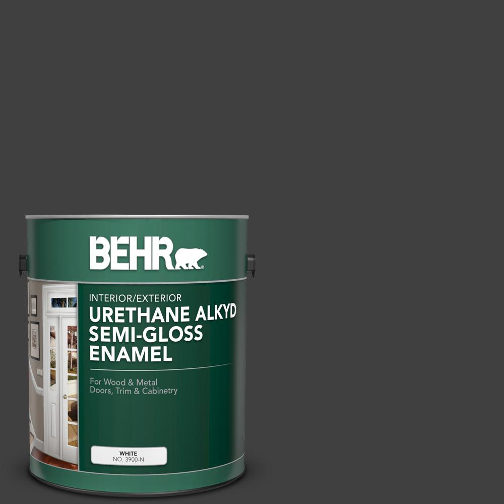 BEHR 1 gal. #1350 Ultra Pure Black Urethane Alkyd Semi-Gloss Enamel Interior/Exterior Paint