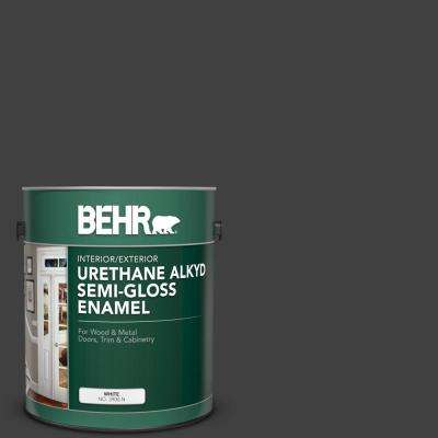 1 gal. #1350 Ultra Pure Black Urethane Alkyd Semi-Gloss Enamel Interior/Exterior Paint