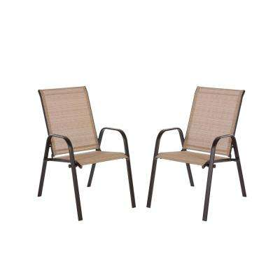 Mix And Match Brown Stackable Sling Outdoor Dining Chair In Cafe 2 Pack