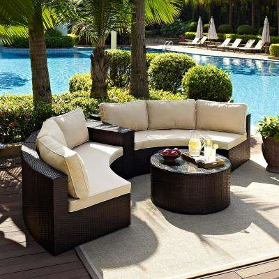 Catalina 4-Piece Wicker Outdoor Sectional Set with Sand Cushions