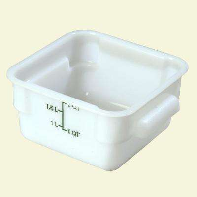2 qt. Polyethylene Square Food Storage Container in White, Lid not Included (Case of 6)