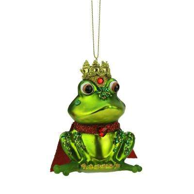 4.25 in. Green and Red Glittered King Frog Glass Christmas Ornament
