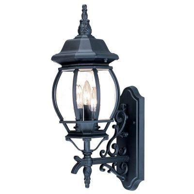 Chateau Collection 3-Light Matte Black Outdoor Wall Lantern Sconce