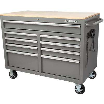 46 in. W x 24.5 in. D 9-Drawer Tool Chest Mobile Workbench with Solid Wood Top in Gloss Gray