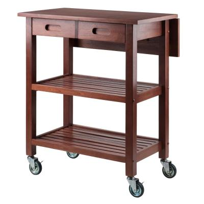 Jonathan Walnut Kitchen Cart with Drop Leaf