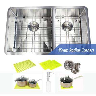 Undermount Stainless Steel 32 in. 60/40 Offset Double Bowl Kitchen Sink with Accessories