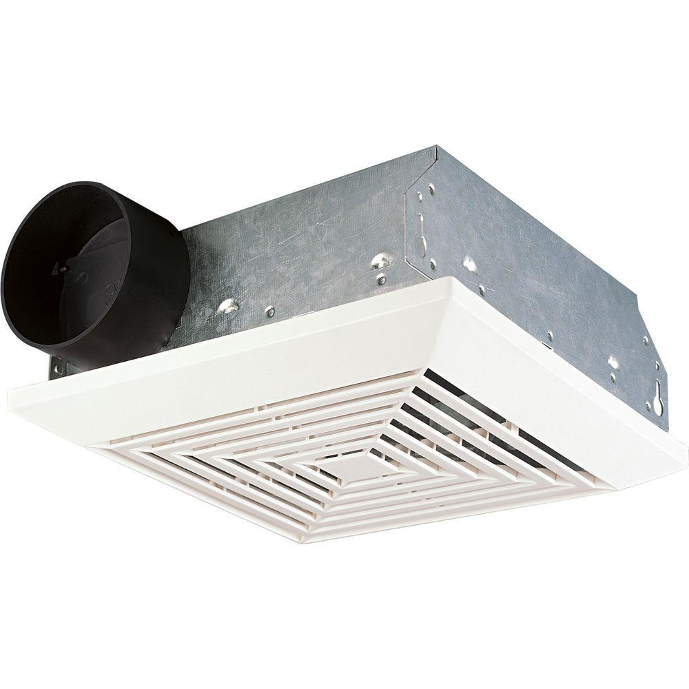 Progress Lighting 8-1/2 in. 50 CFM White Ceiling/Wall Single Speed Exhaust Fan with No Light