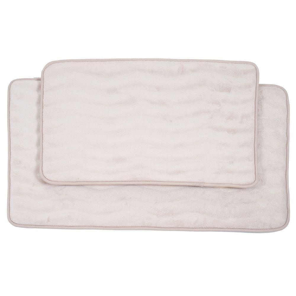 2-Piece Ivory Memory Foam Bath Mat Set