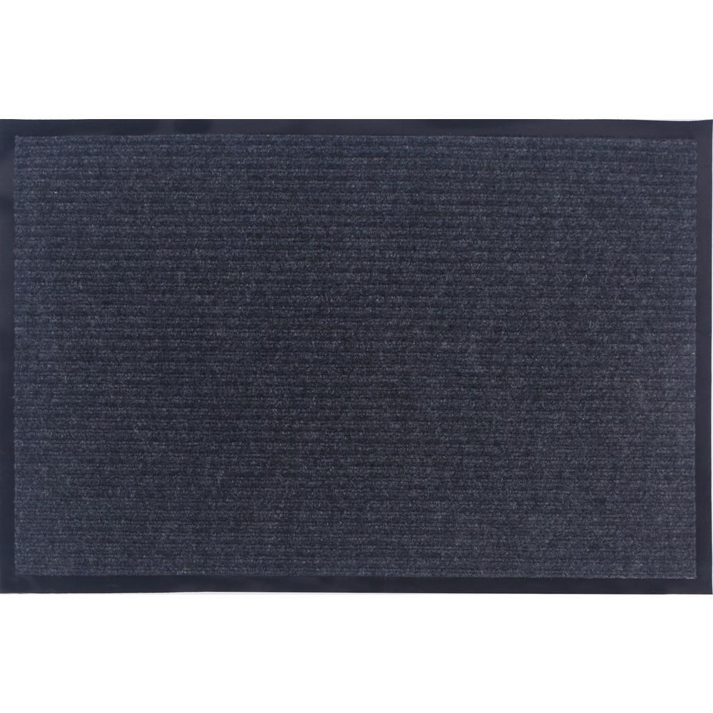 Otto Grip Collection Gray 24 in. x 36 in. PVC Backing Solid Indoor/Outdoor Doormat
