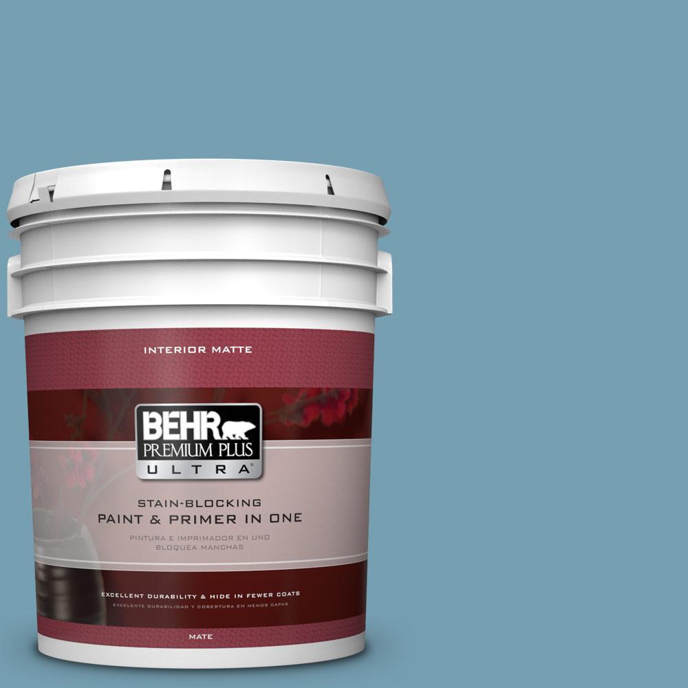BEHR Premium Plus Ultra 5 gal. #S480-4 Saga Blue Matte Interior Paint