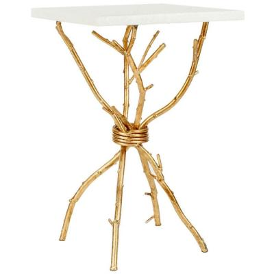 Alexa White and Gold End Table
