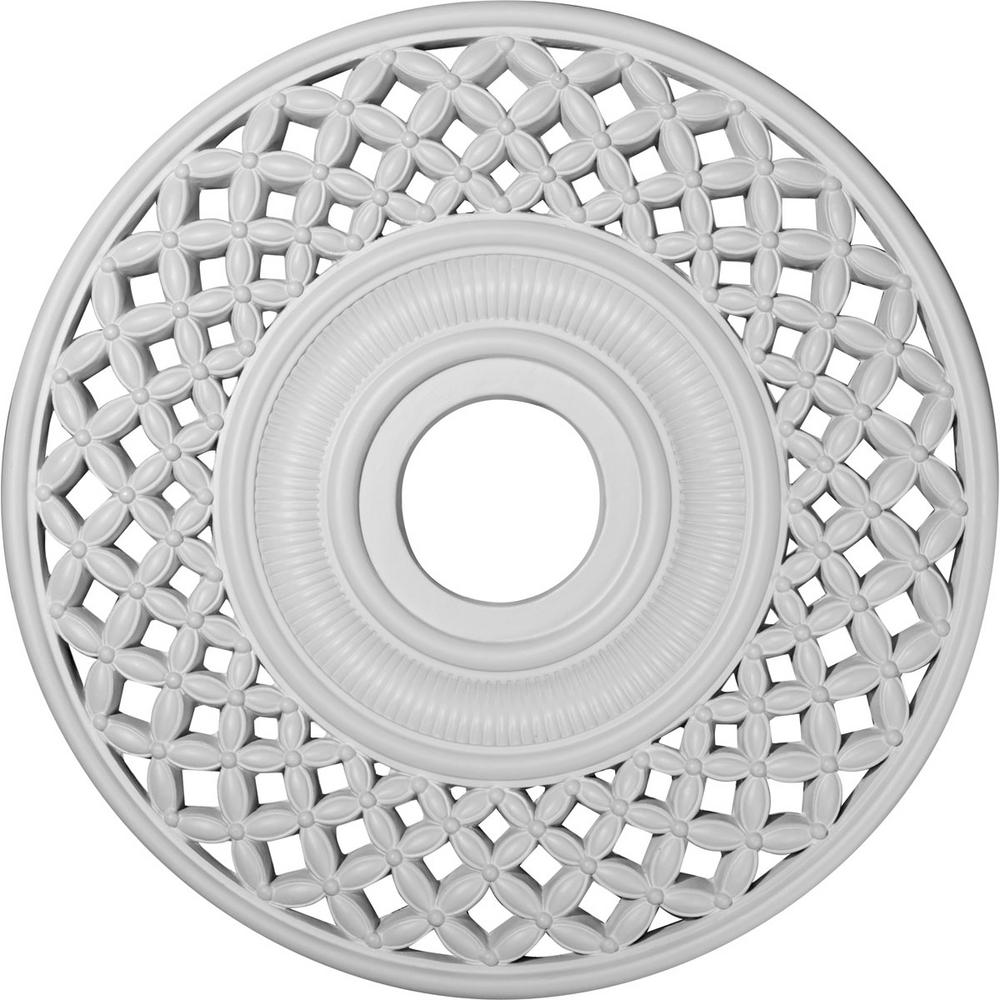Ekena Millwork 22-1/4 in. x 4-3/4 in. ID x 1-1/4 in. Robin Urethane Ceiling Medallion (Fits Canopies upto 6-1/4 in.), Primed