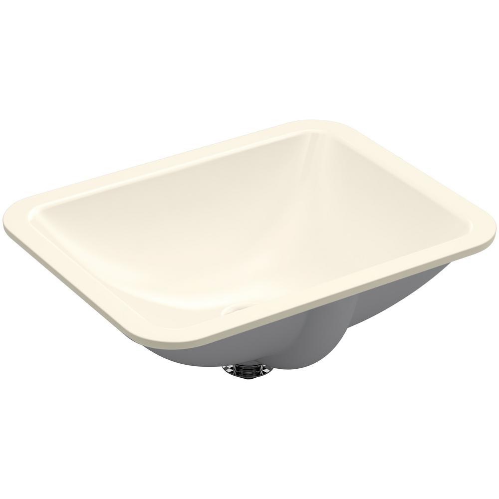 Kohler Caxton Rectangle Undermount Bathroom Sink In Almond K 20000 47 The Home Depot