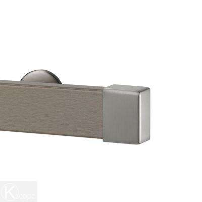 Kontur Wood 96 in. Non-Adjustable Single Traverse Window Curtain Rod Set in Truffle with Stainless Endcap