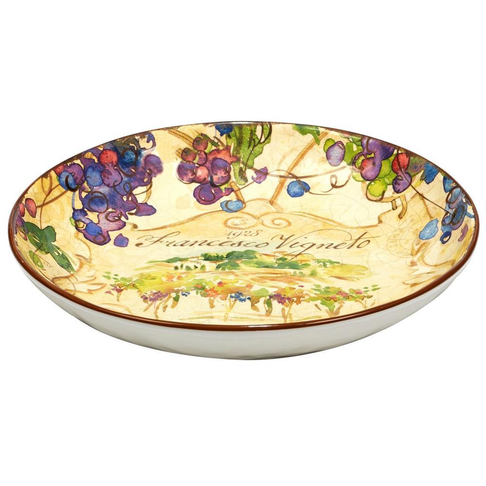 Vino 13 in. x 3 in. Multi-Colored Serving/Pasta Bowl