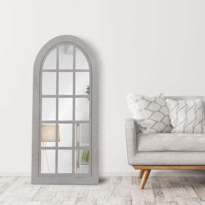 Patton Farmhouse Arch Windowpane Gray Decorative Mirror