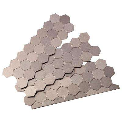 Honeycomb Matted 4 in. x 12 in. Metal Decorative Tile Backsplash in Brushed Stainless (1 sq. ft.)