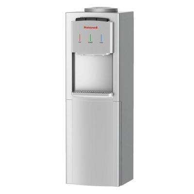 Freestanding Top-Loading Hot/Room/Cold Water Dispenser with Cabinet and Thermostat Control in Silver