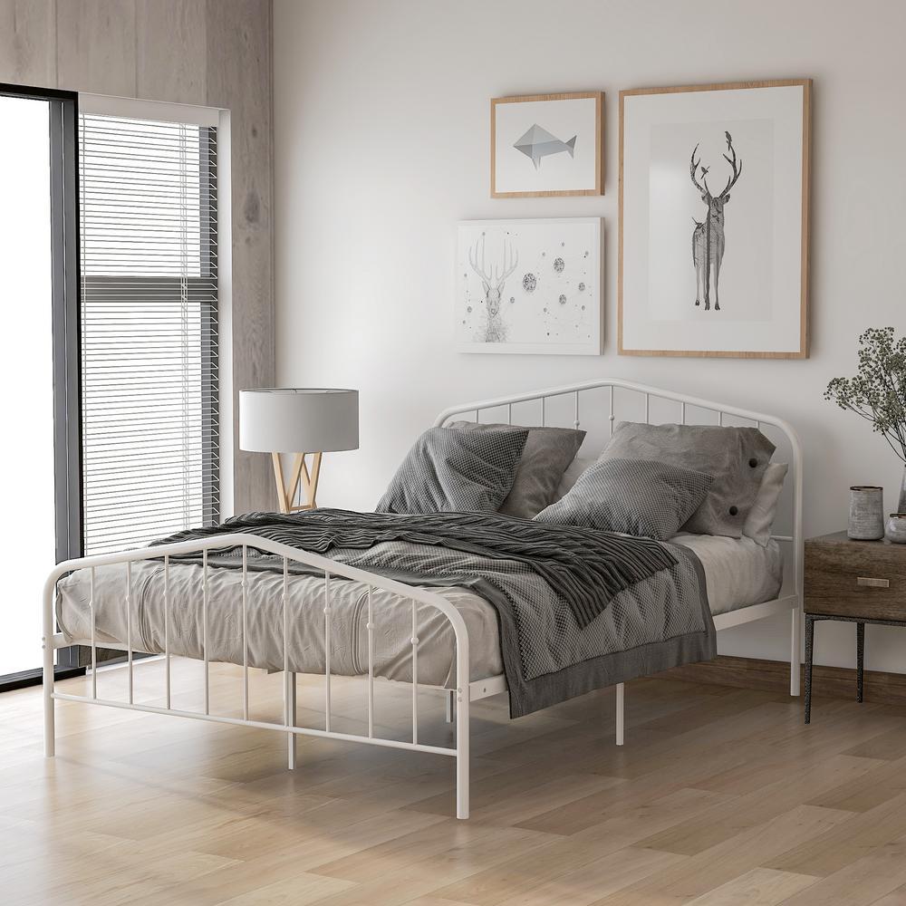 White Full Mirfield Platform Metal Bed