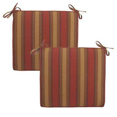 Red Tweed Stripe Deluxe Outdoor Chair Cushion (2-Pack)