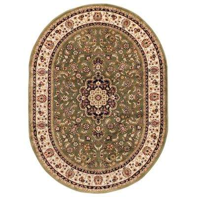 Barclay Medallion Kashan Green 6 ft. 7 in. x 9 ft. 6 in. Oval Area Rug