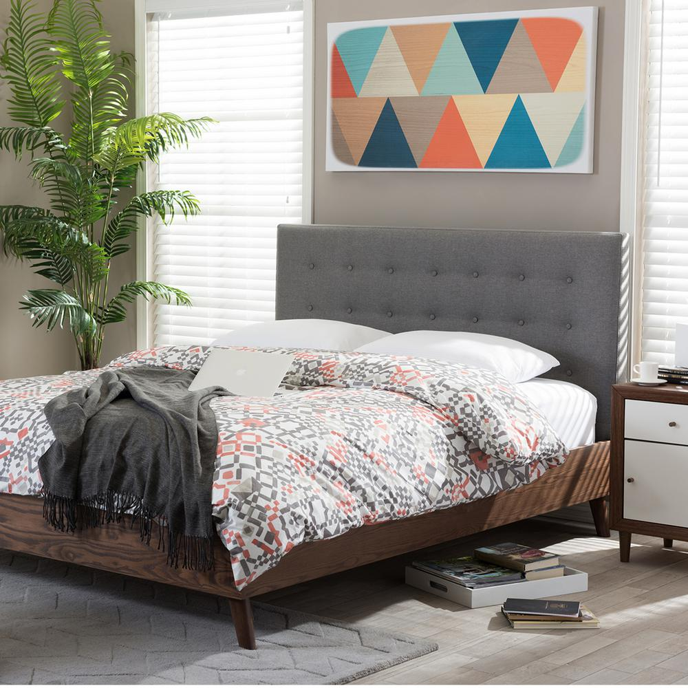 Alinia Medium Brown and Gray Queen Upholstered Bed