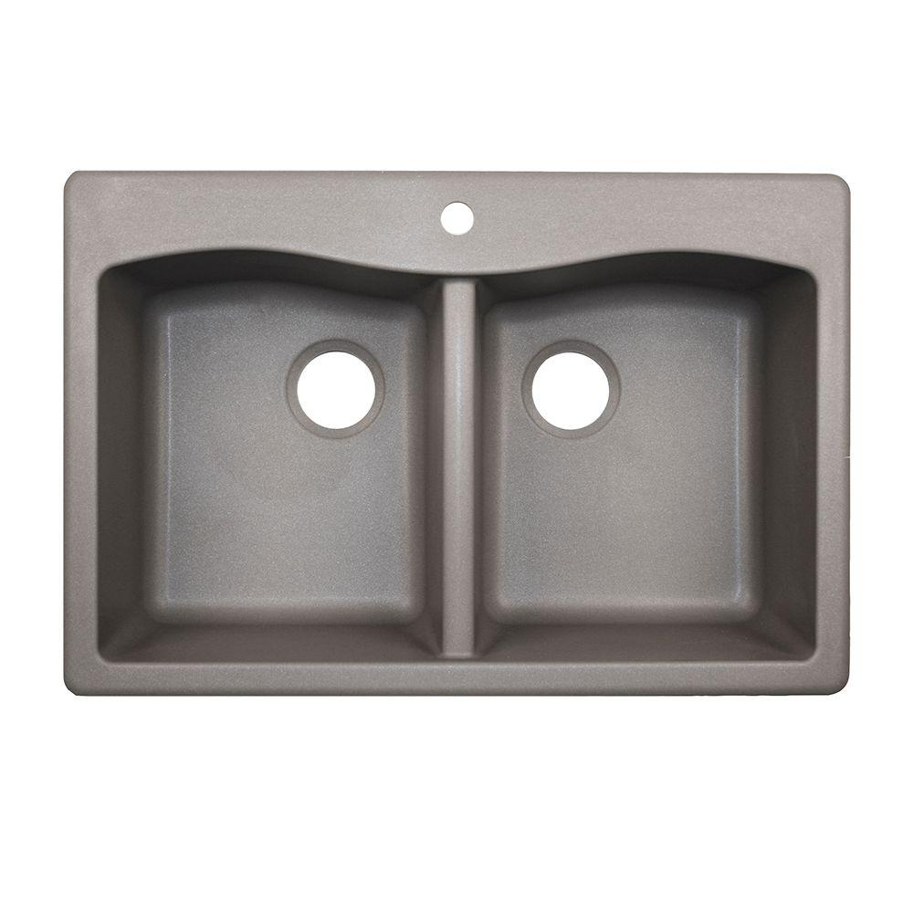Swan Drop In Undermount Granite 33 1 Hole 50 Double Bowl Kitchen Sink Metallico Qz03322ed 173 The Home Depot