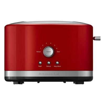 2-Slice Empire Red Wide Slot Toaster with Crumb Tray