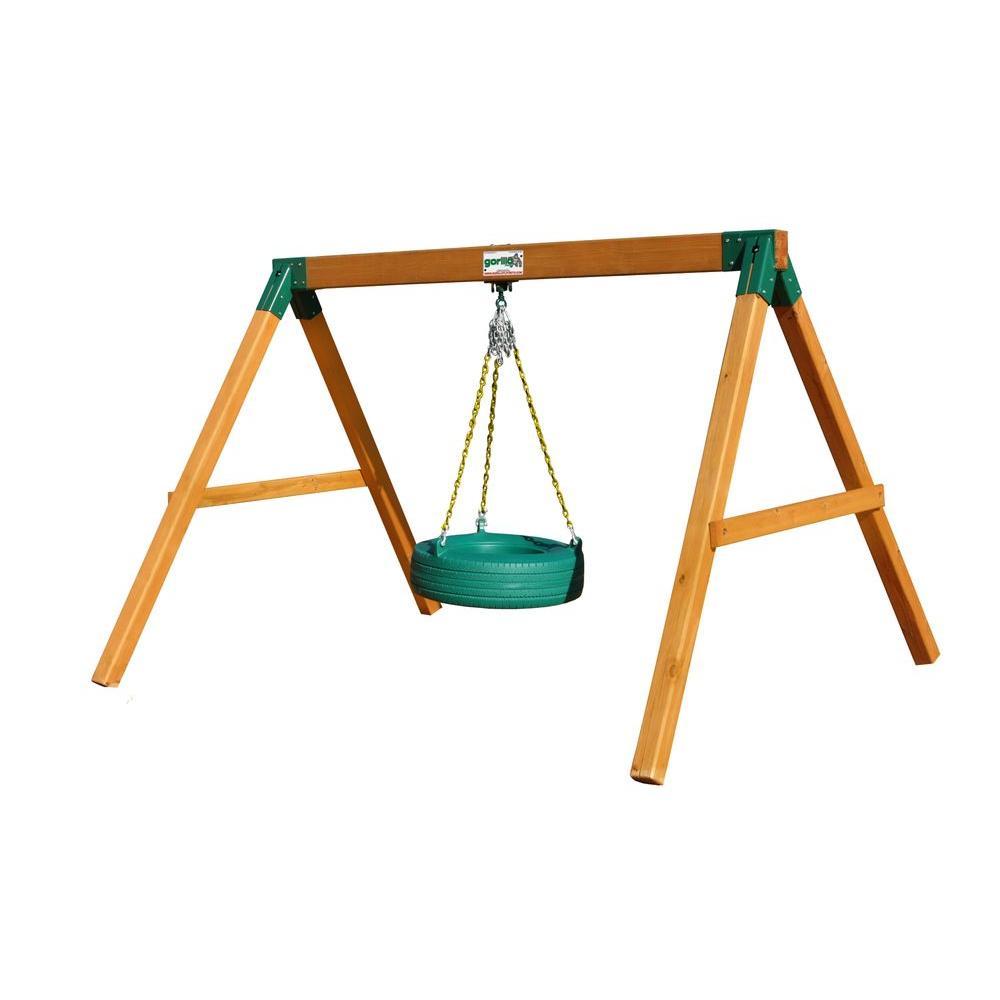 Cedar Free Standing Tire Swing Set