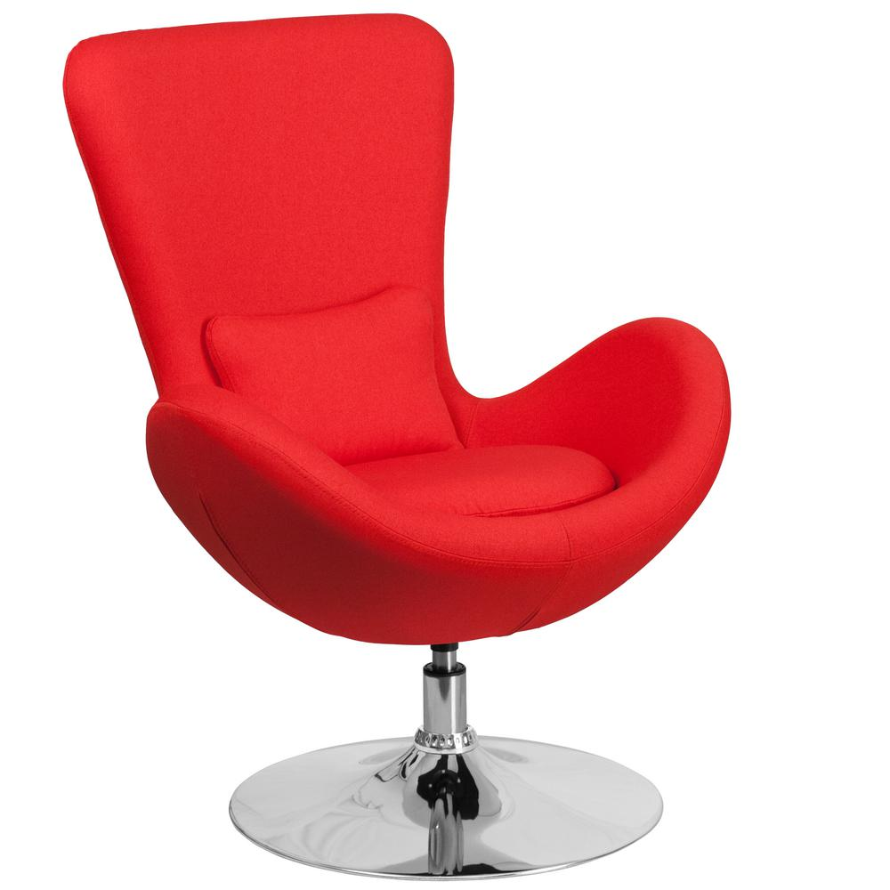 Red Fabric Egg Series Reception-Lounge-Side Chair