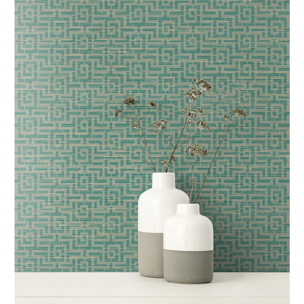Topaz Metallic Gold and Teal Maze Wallpaper