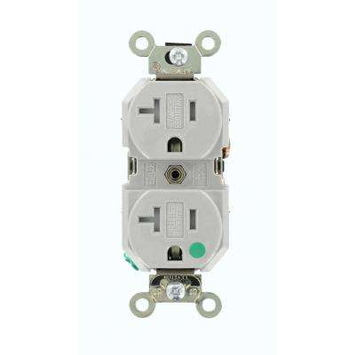 20 Amp Hospital Grade Extra Heavy Duty Tamper Resistant Self Grounding Duplex Outlet, Gray