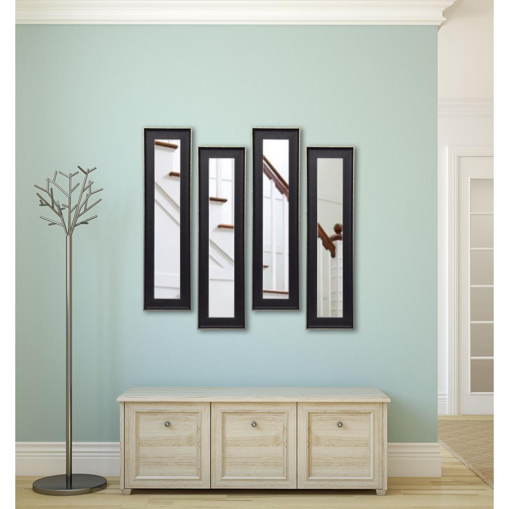 13.5 inch x 27.5 inch Vintage Black Vanity Mirror (Set of 4-Panels) by