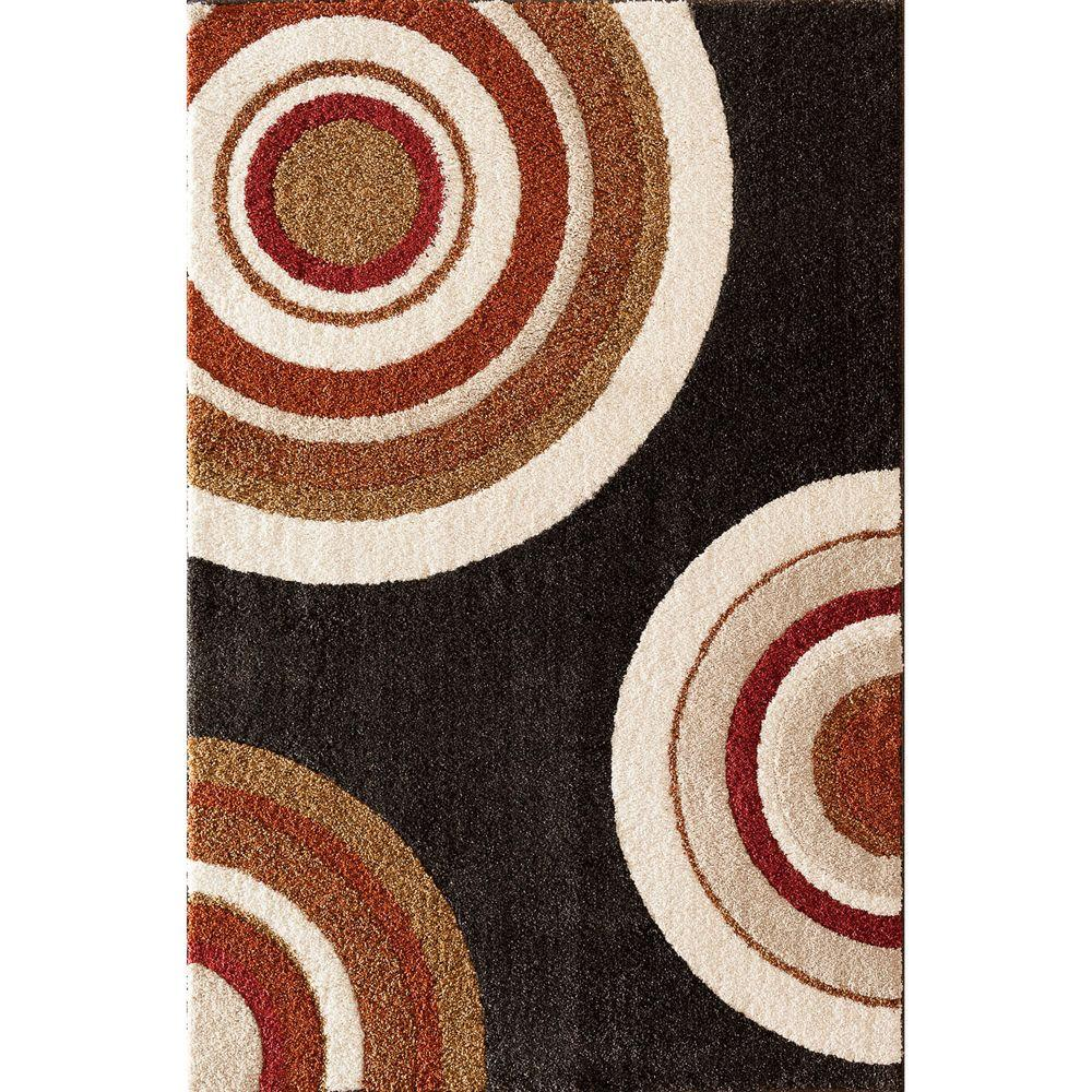Home Decorators Collection Circlets Black 7 ft. 10 in. x 9 ft. 10 in. Shag Area Rug
