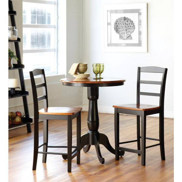 International Concepts Black and Cherry Solid Wood Counter-Height Table K57-30RT-6B