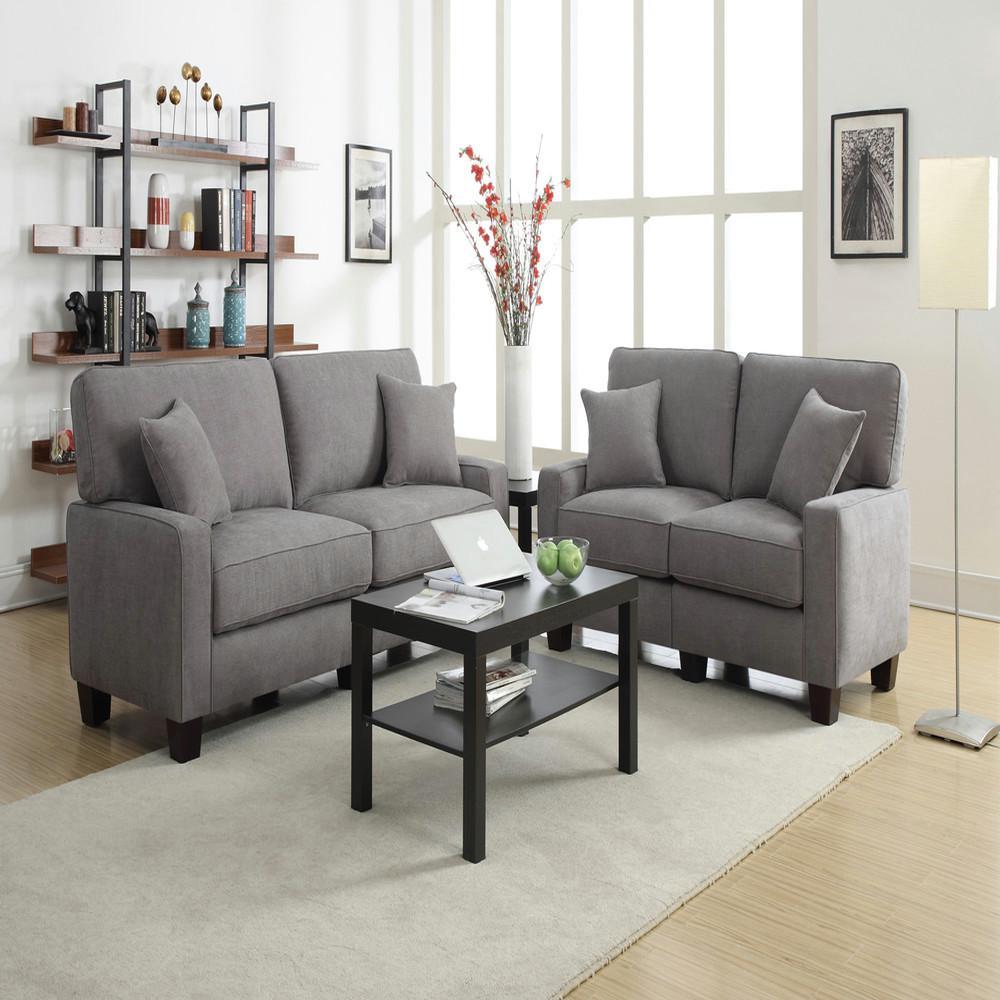 RTA Martinique Kona Gray/Espresso Polyester Sofa