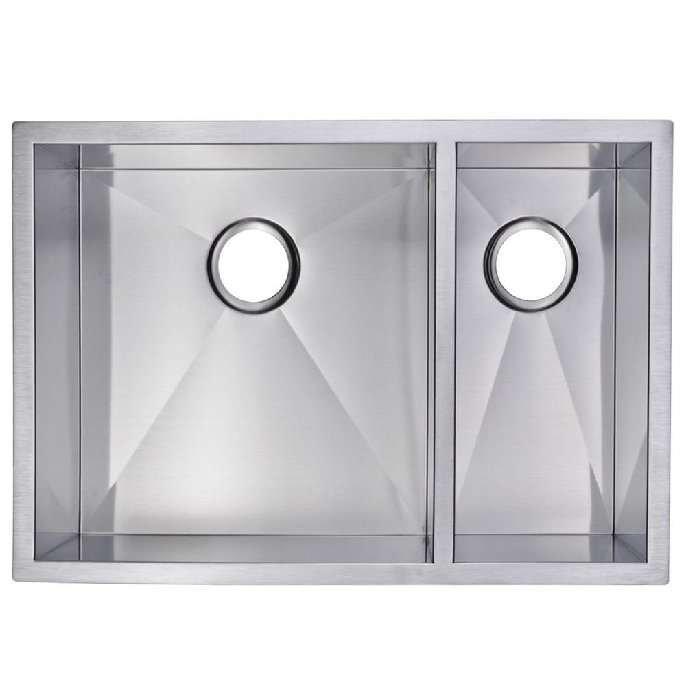 Water Creation Undermount Stainless Steel 29 in. Double Bowl Kitchen Sink with Strainer in Satin was $358.05 now $239.89 (33.0% off)